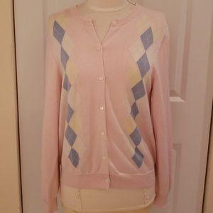 Brooks Brothers Argyle Pastel Cardigan Sweater